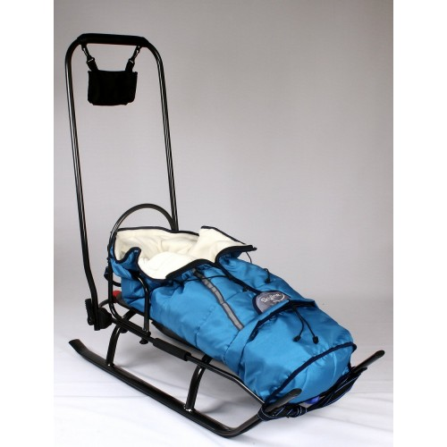Sanie Salto cu saculet din material polar albastru