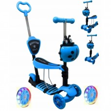 Trotineta 5 in 1, roti cu LED, platforma antiderapanta, JR R-Sport - Albastru