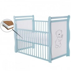 BabyNeeds - Patut din lemn Jas Ursulet 120x60 cm, cu laterala culisanta, Mint + Saltea 10 cm