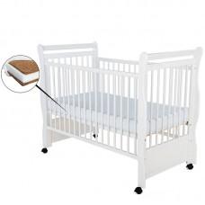BabyNeeds - Patut din lemn Jas 120x60 cm, Alb + Saltea 12 cm