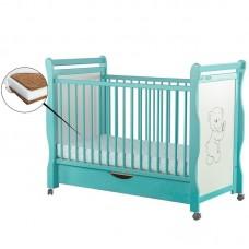 BabyNeeds - Patut din lemn Jas Ursulet 120x60 cm, cu sertar, Mint + Saltea 10 cm