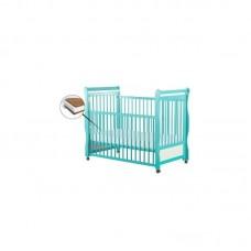 BabyNeeds - Patut din lemn Jas 120x60 cm, cu laterala culisanta, Mint + Saltea 12 cm