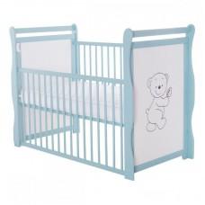 BabyNeeds - Patut din lemn Jas Ursulet 120x60 cm, cu laterala culisanta, Mint