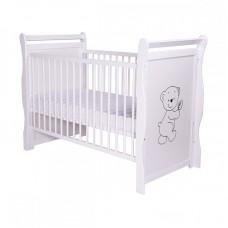 BabyNeeds - Patut din lemn Jas Ursulet 120x60 cm, Alb