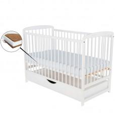 BabyNeeds - Patut din lemn Ola 120x60 cm, cu sertar, Alb + Saltea 10 cm