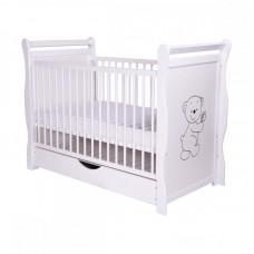 BabyNeeds - Patut din lemn Jas Ursulet 120x60 cm, cu sertar, Alb
