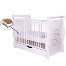 BabyNeeds - Patut din lemn Jas Ursulet 120x60 cm, cu sertar, Alb + Saltea 10 cm