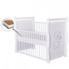 BabyNeeds - Patut din lemn Jas Ursulet 120x60 cm, cu laterala culisanta, Alb + Saltea 8 cm