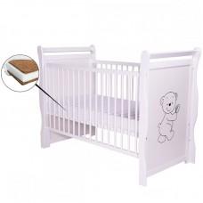 BabyNeeds - Patut din lemn Jas Ursulet 120x60 cm, Alb + Saltea 10 cm