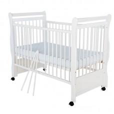 BabyNeeds - Patut din lemn Jas 120x60 cm, Alb + Saltea 10 cm