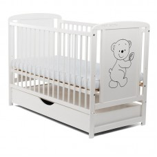 BabyNeeds - Patut din lemn Timmi 120x60 cm, cu sertar, Alb