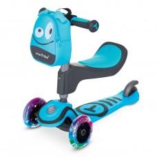 Trotineta cu scaun SmarTrike T1 albastru cu luminite si gentuta